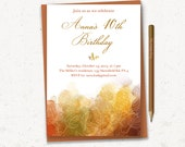 "Woman birthday invitation, Autumn invitation - PRINTABLE, 5""x7"", 30th, 40th, 50th, 60th, 70th, 80th, Elegant invitation"
