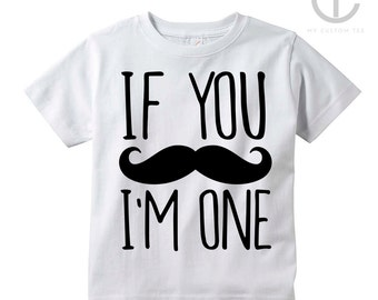 If You Mustache, I'm am One Funny - 1st First Birthday Toddler Infant Tee T-Shirt - Black on White T