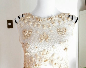 antique edwardian crop top, crochet Irish lace bolero overlay, bohemian blouse, size S
