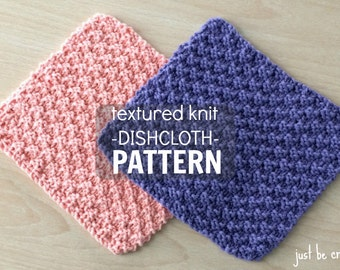 Textured Knit Dishcloth Pattern Printable PDF Download, Knitted Dishcloth Pattern, Textured Dishcloth, Knitted Washcloth Pattern