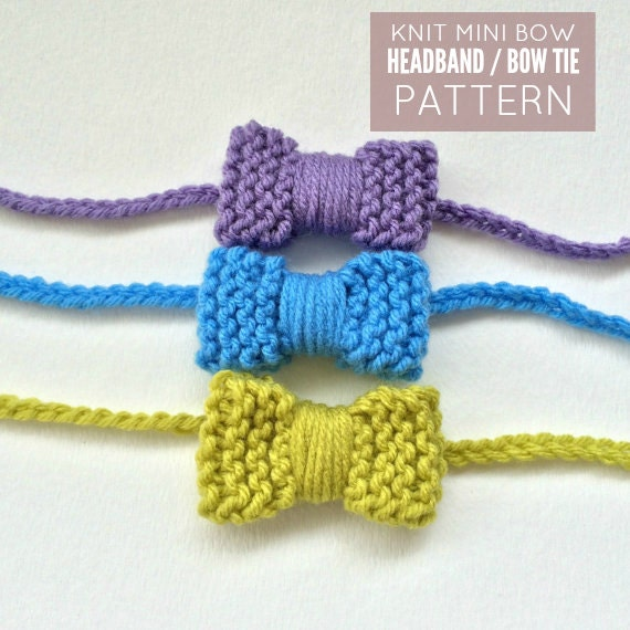 Knitted Headband With Bow Pattern : Knit Mini Bow Headband / Bow Tie Pattern PDF DOWNLOAD Bow