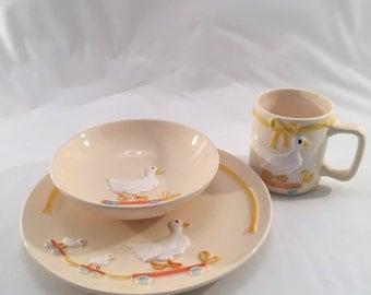 Vintage 80's Ebeling & Reuss Co.  Duck  Childs Plate,Bowl, and Mug