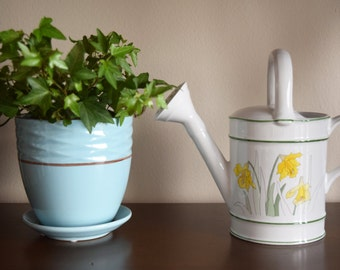 """CeramicWatering Can - 1983 - Made in Portugal - """"Daffodils"""""""