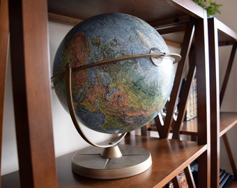 "Vintage Globe - 12"" Reader's Digest World Globe - English Language - Vintage Office/Library Deco"