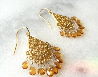 Faceted Citrine Briolettes Wire Wrapped with 14K Gold Filled Wire on a Woven Medallion Chandelier Component Earrings - November Birthstone