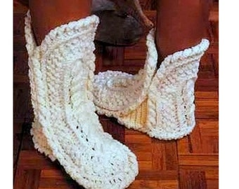 CROCHET SLIPPERS PATTERN Vintage 70s Boots Slipper Pattern Crochet Chunky Booties Pattern Crochet Socks Pattern Aran Slippers Pattern