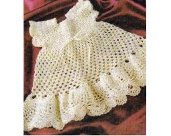 Crochet Pineapple Baby DRESS Pattern Vintage 70s Girl Crochet Dress Pattern Instant Download-Size 3-6 mo