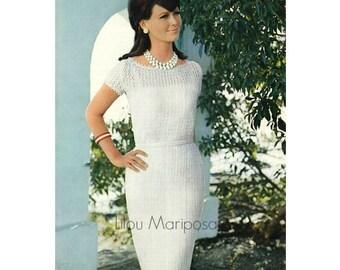 Crochet Dress Pattern Vintage 60s Wedding Jackie O Style Vtg