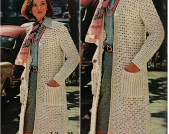 Crochet CARDIGAN Pattern Vintage 70s Crochet Coat Top Crochet Sweater Pattern Coat Jacket Instant Download