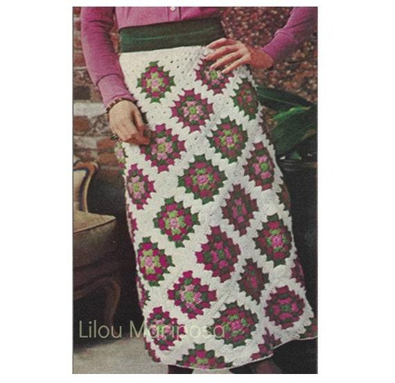 Crochet SKIRT Pattern Vintage 70s Granny Square Maxi Skirt