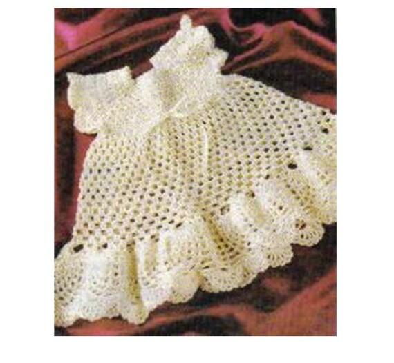 Vintage Crochet Baby Dress Pattern : Crochet Pineapple Baby DRESS Pattern Vintage 70s Girl Crochet