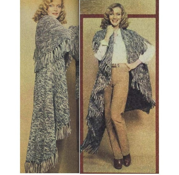 Vintage 70s Knitted Poncho Pattern Shawl Pattern Knitting