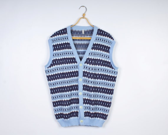 Light Blue Mens Vest Knitted Winter Patterned Sweater Vest