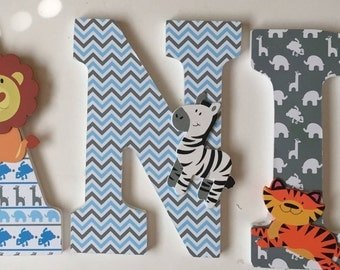 boys letters in animal theme, wall letters, wood letters, decorative baby nursery letters, Andrew, custom hanging letters, monogram letters