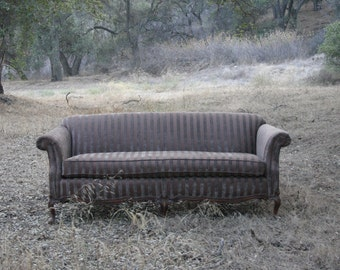 Classic Vintage Sofa in Chocolate Velvet Striped Fabric