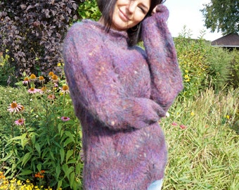 Mohair Hand Knit Sweater/ Lace pattern/Wave pattern /Aubergine-  Dusty pink - Blue-green colour mix