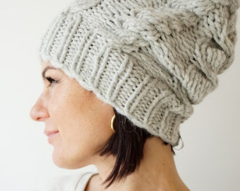 Cable Knit Alpaca Blend Hat /Teens-Women Hat/ Soft Wool Cable Beanie  / Slouchy Cable Beanie / Light Grey