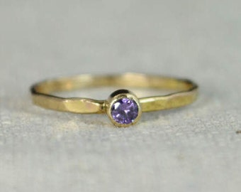 Classic 14k Gold Filled Amethyst Ring, Gold Solitaire, Solitaire Ring, 14k Gold Filled, February Birthstone, Mothers Ring, Gold Band, Yellow