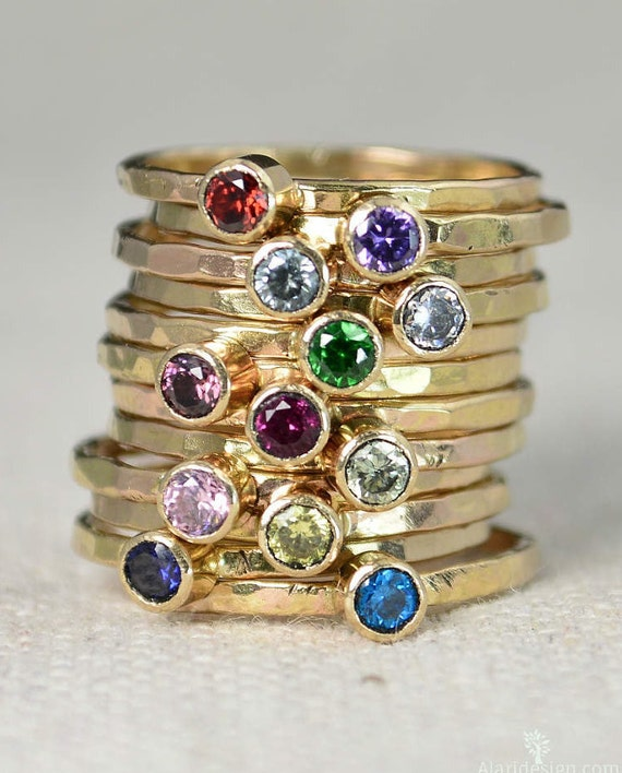 K Gold Stackable Birthstone Rings