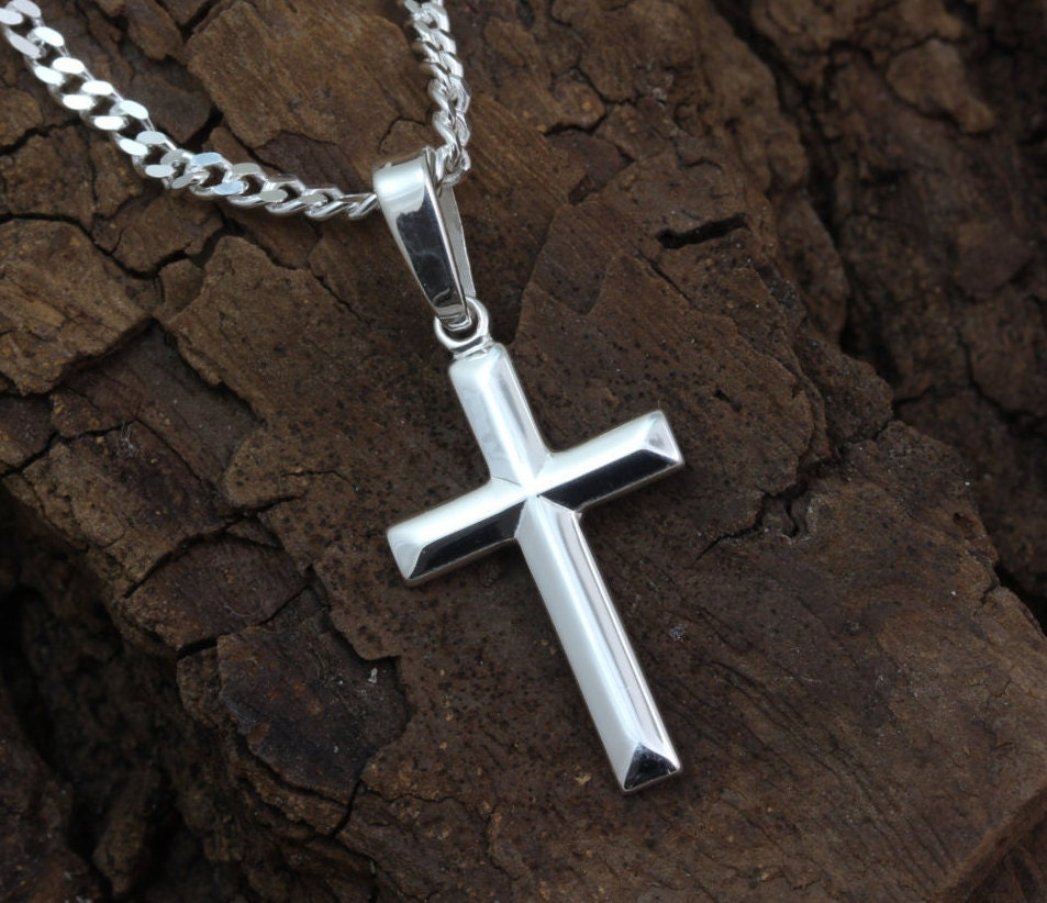 small silver cross necklace silver cross baptism boys cross. Black Bedroom Furniture Sets. Home Design Ideas