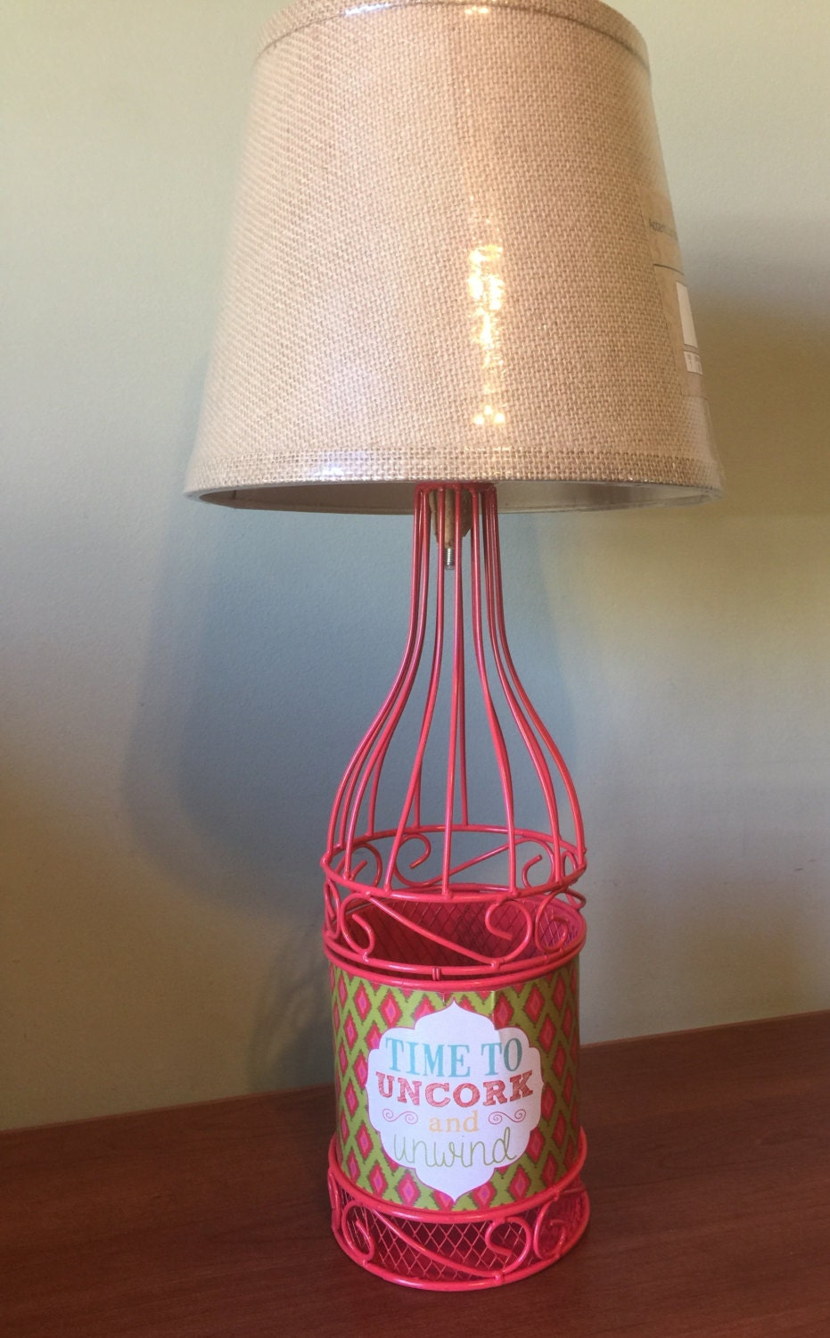 Pink time to uncork wine bottle shape wire cork holder table for Wine cork lampshade