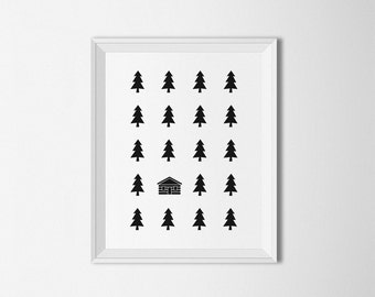 Cabin in Woods Wall art, Modern print, Digital, Minimalist decor, Black and white, Tree decor, Forest wall art, Cabin art, Abstract print
