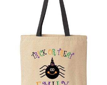 Personalized Halloween Trick-or-Treat Bag. Spider with a witch hat.