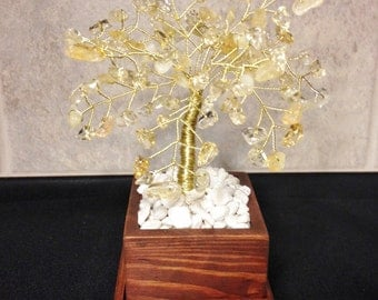 Citrine Crystal Gemstone Wire Bonsai Tree of Life Sculpture, Feng Shui,Twisted Wire Art Decor,Healing Citrine Gemstone,Beaded Wire Tree Art