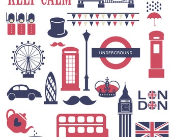 FREE COMMERICAL use 40% Off London Clipart, London Clip Art, Cardmaking, Scrapbooking,  - Instant Download. Personal and Commercial Use