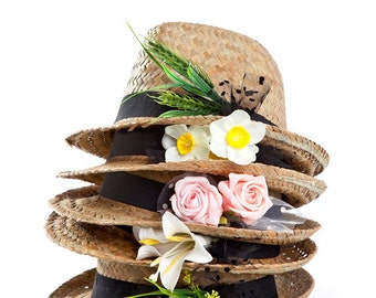 Fedora hat , Custom hats , Straw hat for women with flower or fruit decoration.