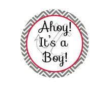 Ahoy It's A Boy! Baby Shower Decor Design, Gift Tag, Invitation, Baby Shower Cut out, Gender Reveal Party, Cupcake Topper, Digital Download