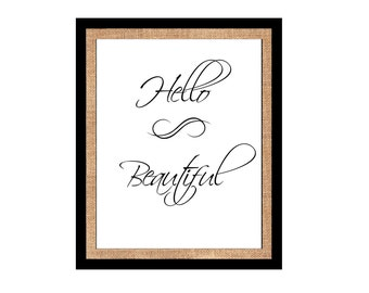 Hello Beautiful Design Printable wall art instant download, JPG, Print Wall Art,  Bedroom Decor, Nursery Art, Cricut, Silhouette, SVG, DXF