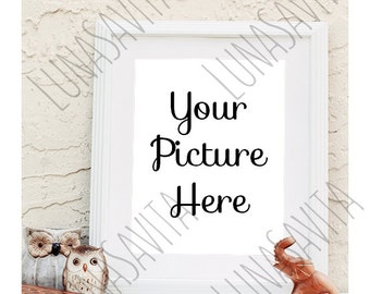 Styled Stock Photography, Frame Mockup, White Frame, Your Photo Here, Owls, Elephants, Product Shot, Listing, JPG