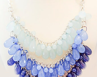 0965 - Blue necklace, blue jewelry, blue glass beads, blue beads, blue, necklace, shades of blue, toggle clasp, teardrop beads, faceted bead