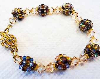 0975W - Crystal bracelet, seed bead bracelet, Swarovski crystals, rhinestone clasp, magnetic clasp, bead balls, seed beads, crystals