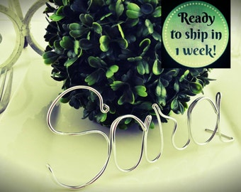 Rustic Weadding - Wedding Decor - Wire Wedding Place Holders - Wire Wedding Table Place Holder - Custom Names - Phrases