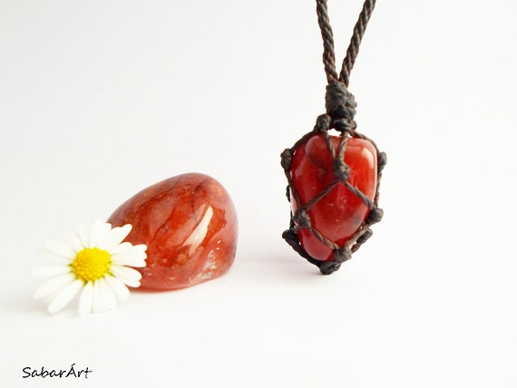 Heart Chakra Necklace Carnelian Necklace August By Sabarart