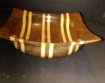 Walnut and Maple square edged bowl