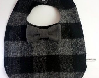 Buffalo Plaid Baby Bib -  Bowtie Bib - Bow tie Baby Bib - Dribble Bib - First Birthday Gift - Unique Baby Shower Gift - Hipster Baby Bib