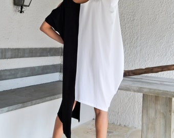 Black & White Dress Tunic / Black White Dress / Asymmetric Plus Size Dress / Oversize Loose Dress / #35070