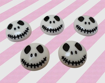 22mm Kawaii Gothic Black and White Jack Skeleton Skull Halloween Decoden Resin Cabochons, Gothic Lollita, 5pc set