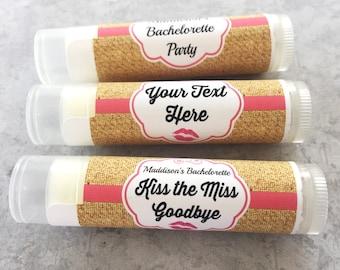 Bachelorette Party Favors-Wedding Party Favors-Bridal Party Favor-Lip Balm-Custom Party Favors-Custom Chapstick-Burlap-Anniversary