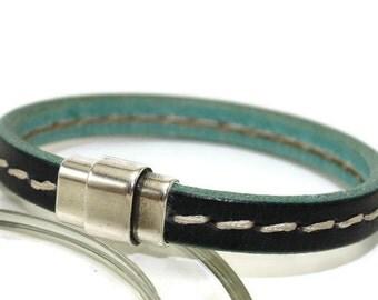 Mens leather bracelet black green stitched bracelet mens bracelet bangle bracelet licorice leather green bracelet magnetic clasp LLB-05-0110