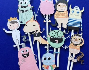 Monster cupcake toppers, cupcake toppers monsters, monster party toppers, friendly monsters, Monster cake topper