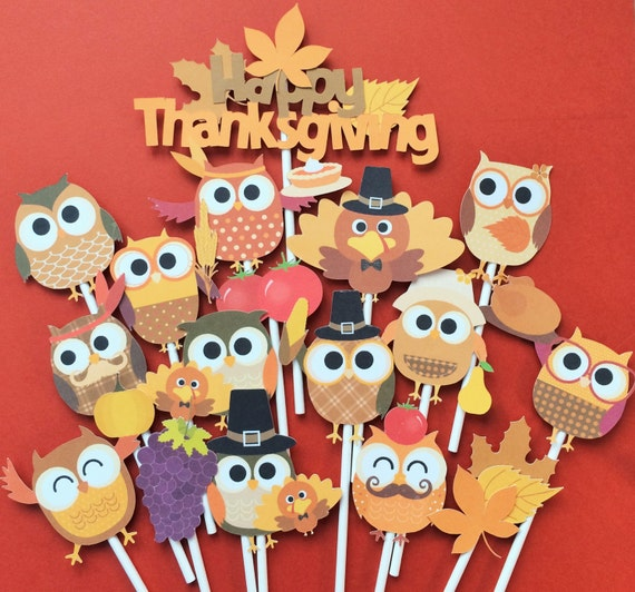 16 Thanksgiving owls cupcake toppers, Thanksgiving owl toppers, Thanksgiving toppers, Thanksgiving party decor, Thanksgiving owls