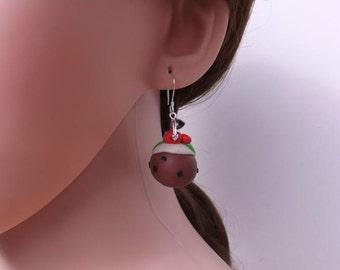 Christmas pudding earrings, fimo earrings, handmade earrings,
