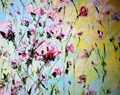 Impasto Palette Knife Flowers Oil Painting Living Room Painting Custom Order Art Pink Lilac Flowers Summer Wall Art Decor Russian Art Action