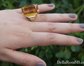 Huge Citrine Emerald Cut Cocktail Ring Couture Retro 1940s Hollywood Regency Golden Yellow Amber Tone Statement Ring Large Gemstone