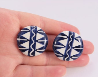 Handmade Ceramic Blue White Abstract Earrings