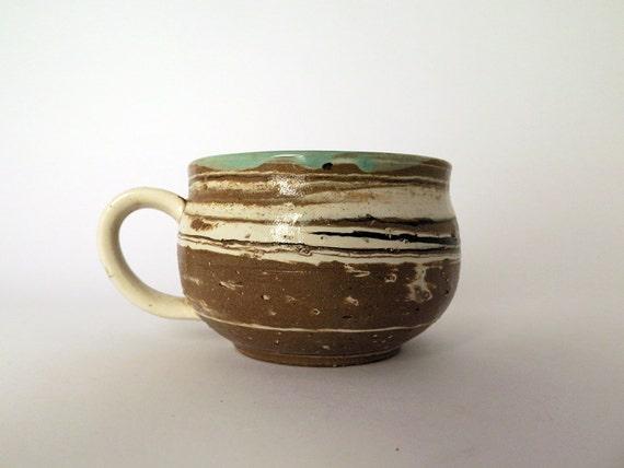 Wide Ceramic Coffee Mug Handmade Pottery Cup With Handle